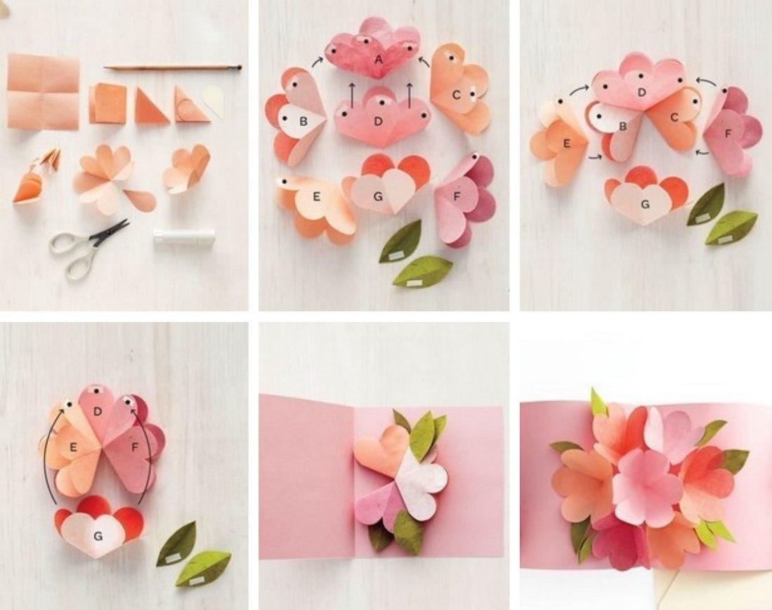 Открытку своим, цветы из бумаги на открытку
